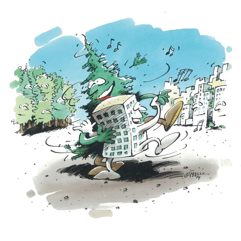 Baum tanzt mit Gebäude